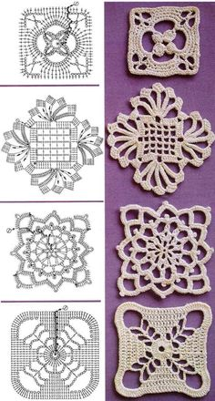 """Awesome web page with many many crochet motif diagrams. Minidečky – háčkované posbírané. I am so happy that I decided (years and years ago) to subscribe to a magazine called """"Magic Croc…"""