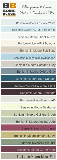 Need some paint color inspiration? Benjamin Moore Color Trends 2015. Benjamin Moore Patriotic White, Benjamin Moore AC-25 Harbor Fog,  Benjamin Moore Chantilly Lace, Benjamin Moore Pink Damask OC-72, Benjamin Moore Soft Sand, Benjamin Moore Blue Hydrangea, Benjamin Moore Portland Gray, Benjamin Moore Oxford Gray, Benjamin Moore Blue Danube, Benjamin Moore Universal Black , Benjamin Moore Caponata, Benjamin Moore Halo OC-46, Benjamin Moore Seahorse, Benjamin Moore Guilford Green HC-116…