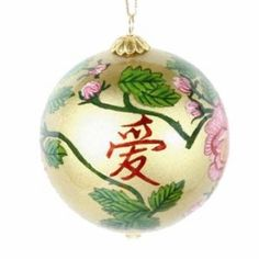 "Today's feature product: Auspicious Glass Ornament – Love  Here is our auspicious glass ornament which features the Chinese symbol of Love. Its design and ivory background are painted by the skilled artisans on the inside of each ornament by using very narrow brushes.. Have time to view all of our Asian ornaments and choose the best one for you. Features and facts:  • Imported from China  • Measures 3.0"" in diameter and hangs 6.75""  http://www.asianideas.com/goauglor.html"