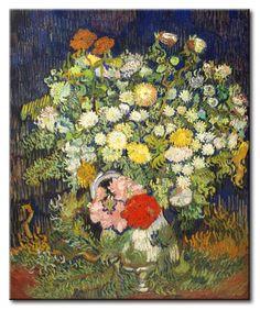 MU_VG2004 t_Van Gogh _ Bouquet of flowers in a vase / Cuadro Arte Famoso, Ramo de Flores