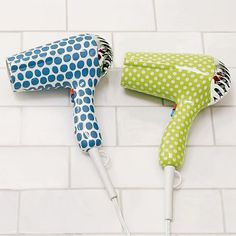 Polka Dot Hair Dryer: A bit less industrial than the standard black plastic heat gun that I see hanging from the towel rack.