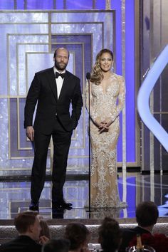 Jennifer Lopez and Jason Statham on stage to present during the 70th Annual Golden Globe Awards at the Beverly Hilton Hotel International Ballroom on January 13, 2013 in Beverly Hills, California.