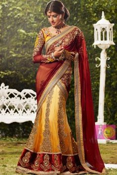 Royal yellow and red golden embroidered work party wear saree, http://www.junglee.com/dp/B00CW9804U/ref=cm_sw_cl_pt_dp_B00CW9804U