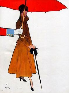 A Schiaparelli coat illustrated by Rene Gruau, 1948.