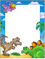 Prehistoric frame with dinosaurs - color illustration. Free art print of Prehistoric frame with dinosaurs. Dinosaur Coloring, Dinosaur Art, The Good Dinosaur, Dinosaur Birthday Party, Boy Birthday Parties, Learning Games For Kids, Outdoor Activities For Kids, Dinosaur Printables, Quilt Labels