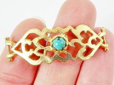 Turquoise Stone Curved Fretwork Bracelet Focal by LylaSupplies, $4.00