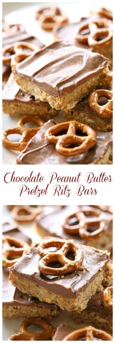 These Chocolate Peanut Butter Pretzel Ritz Bars are seriously to die for! They taste similar to a Reese's Peanut Butter cup but with crunchy pretzels too for extra salty crunch. the-girl-who-ate-everything.com