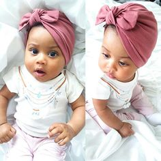 Mauve Pink : baby turban hat with bow