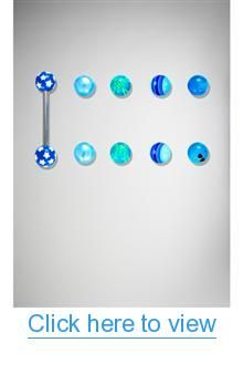 14 Gauge Barbell with Printed Blues Extra Balls 8 Pk #Gauge #Barbell #Printed #Blues #Extra #Balls #Pk