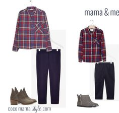 Mini me style | mama and me | red checked shirts, girls style, navy trousers, cos, mango, zara, next, grey boots, cutaway boots | cocomamastyle