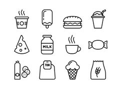 Dribbble - Food Icons by Kornikow Roman