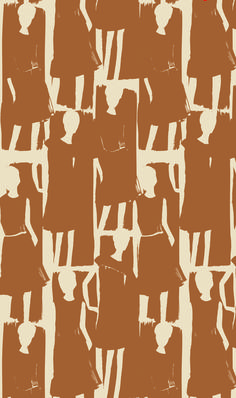 Textile pattern by Orla Kiely of illustrated fashion girls in terra cotta color.