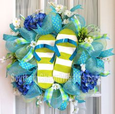 Deco Mesh Wreath Lime Green Blue Stripe Flip Flops.