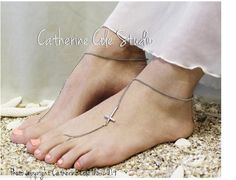 barefoot sandals - barefoot sandals wedding - barefoot sandals crochet - barefoot sandal - foot jewelry - foot jewelry wedding - bridal barefoot sandals - wedding barefoot sandles - lace footwear - lace foot - lace jewelry foot - #barefootsandals  #catheriencolestudio  A PROMISE of FAITH Silver Cross Barefoot by CatherineColeStudio, $12.50