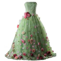 Lowime Women's Gorgeous Floral 2016 Ball Gown Quinceanera Dresses ($180) ❤ liked on Polyvore featuring dresses, gowns, green quinceanera dresses, floral dress, green dress, quinceanera dresses and floral evening dresses