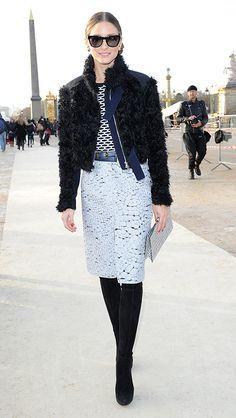 Olivia Palermo outside the Nina Ricci A/W 2014 Paris Fashion Week show.