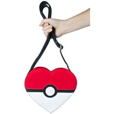 Loungefly X Pokémon Heart-Shaped Pokéball Crossbody Bag ($55) ❤ liked on Polyvore featuring bags, handbags and shoulder bags