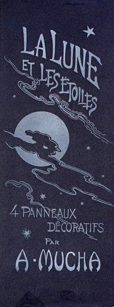 'La Lune et les étoiles: 4 panneaux décoratifs