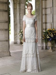 Vintage Elegant 2013 Lace Column Wedding Dress with Sleeves NW1094 $784.00