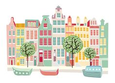Amsterdam Canal houses  A2 Super large print by lauraamiss on Etsy, €30.00