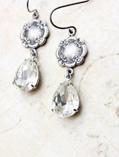 Clear Glass Earrings Silver Floral Diamond by apocketofposies