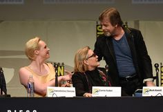 Carrie Fisher and Gwendoline Christie Photos Photos - (L-R) Actors Gwendoline Christie, Carrie Fisher and Mark Hamill speak onstage at the Lucasfilm panel during Comic-Con International 2015 at the San Diego Convention Center on July 10, 2015 in San Diego, California. - Comic-Con International 2015 - Lucasfilm Panel