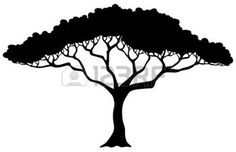 tree silhouette: Tropical tree silhouette - vector illustration.
