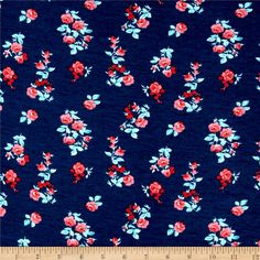 Fashion Jersey Knit Floral Mint from @fabricdotcom  This super soft and smooth jersey knit fabric is lightweight, with 50% stretch on the grain and 20% on the vertical for comfort and ease. Use for gathered or lined dresses and skirts, stylish tops, and comfy t-shirts. Colors include navy, red, green, and white.