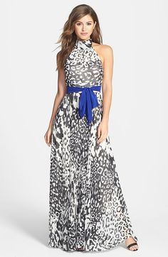 Free shipping and returns on Eliza J Print Chiffon Halter Maxi Dress (Regular & Petite) at Nordstrom.com. Black-and-white leopard spots bring cool graphic edge to a billowing chiffon maxi heightened by a high halter neckline and sweeping accordion-pleat skirt. A satin sash wraps the inset waist with an electric jolt of color.