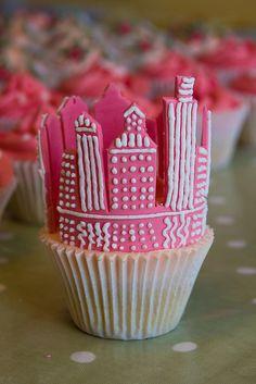 Pink city cupcake