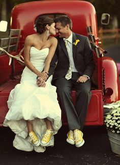 Cute Wedding Photo with Matching Yellow Converse