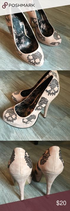 Pink with skulls! Beautiful blush pink with black skulls! Can you get any cuter!!! 💀. Iron Fist Iron Fist Shoes Heels
