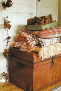 Decorating for fall:  Adding warm plaid blankets or throws on your sofas and benches gives off a super warm feel.Not only do they help bring fall in to your home, they also give you literal warmth.