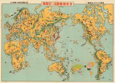 A highly pictorial Japanese world map by Keizo Shimada (1933) #map #maps #cartography #geography #worldmap #oldmap #oldmaps #globe #earth #planet #1933 #japan #japanese #art #perspective #illustration #pictorial #shimada #drawing #world
