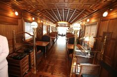 "From JR Kyushu web site in below, We have selected the finest woods and fabrics for the ""Seven Stars in Kyushu"" cruise train, combining traditional and modern styling in Japanese and Western designs to create a new dimension in elegance and grace. The lounge car has a bar counter, and is provided with sofas and rotating chairs where you can enjoy live piano performances, while viewing the scenery through the panoramic windows."