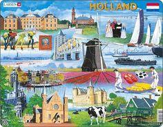 Puzzel Holland / Paleis Noordeinde (Den Haag) / Vredespaleis (Den haag) / Typische klederdrachten / Zeilboten / Haven van Rotterdam / Windmolen / Kubushuizen (Rotterdam) / Zelfportret van Vincent van Gogh / Schaatsers / Pier (Scheveningen) / Gracht (Amsterdam) / Bollenveld (Keukenhof) / Klompen / Kaasdragers Typische kerk / Ridderzaal op het Binnenhof (Den haag) / Muiderslot / Koe (meervoud/pluralis : koeien) / Typisch dorp met brug (Monnickendam, Edam, ...)