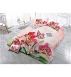 Pink Flower And Butterfly 4-Piece High Density Satin Drill Duvet Cover Sets #bedding #bedroom #decor
