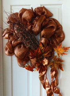 Fall leaves and bittersweet Wreath Tutorial with New Tinsel Work Wreath Form