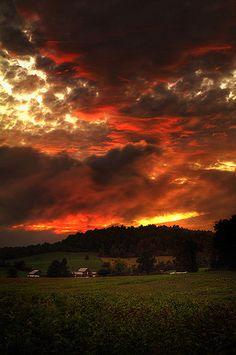 Moody autumn sunset on the Blue Ridge Parkway near Roanoke, Virginia