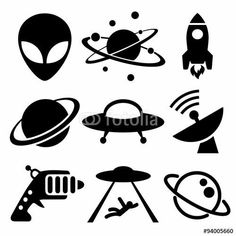 Vettoriale: Aliens and Space Icons Alien Drawings, Easy Drawings, Tattoo Drawings, Body Art Tattoos, Alien Tattoo, Tattoo Planets, Saturn Tattoo, Tatuagem Diy, Rocket Tattoo