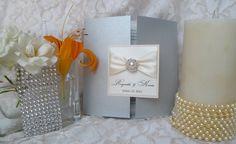 Diamonds and Pearls, rhinestone and pearl invitation