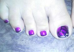 purple butterfly toes nail art