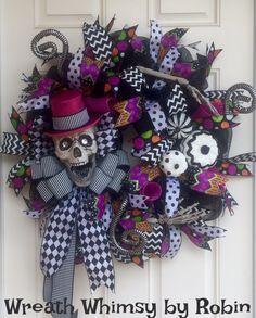 Halloween Skeleton Deco Mesh Wreath in Fuchsia, Black & White, Halloween Decor, Skeleton Wreath, Front Door Wreath, Fall Wreath by WreathWhimsybyRobin on Etsy