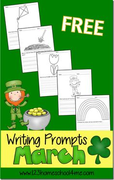 FREE March Writing Prompts for Kids 4-9 years old #homeschool