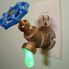 Cute nightlight.  4-Green LED Faucet Valve Night Light