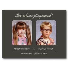 """Childhood Photos Save the Date Invitation Childhood Photos Save the Date with a warm gray design. Upload your old childhood photos and add your text. The text reads: """"These kids are getting married! Save The Date Invitations, Save The Date Postcards, Save The Date Cards, Wedding Invitations, Custom Postcards, Invites, Wedding Save The Dates, Our Wedding, Dream Wedding"""