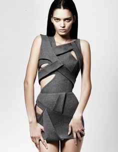 HAKAAN...cutout geometric origami asymmetric strappy layered short gray fitted sleeveless dress