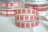 "www.elephantinmyhandbag.com #Red #Snowflakes on Cream 15 mm"" 3 Metres #Christmas #Ribbon by Berisfords"