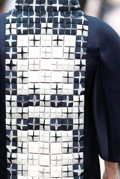 Innovative textiles design for fashion with two tone structural tile pattern construct using cuts, fold & repetition; fabric manipulation // Chanel FW13