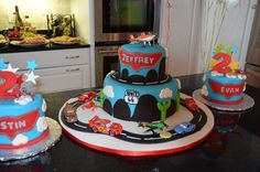 "Jeffrey's 4th birthday cake!!   Disney's Planes & Cars!  Would have been even better if they had remembered stars and ""4"" on top!"